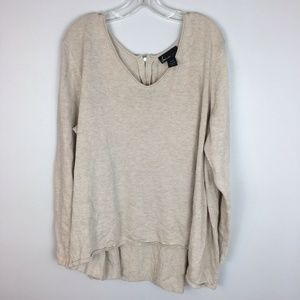 Lane Bryant V-Neck Beige Pullover Tunic Sweater